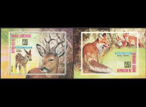Äquatorial Guinea: 1976, Blockpaar Europäische Säugetiere