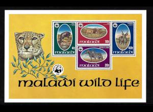 Malawi: 1978, Blockausgabe Geschützte Wildtiere ( M€ 90,-)
