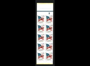 USA: 1992, Markenheftchen Flagge (10 Marken Kat.-Nr. 2314)