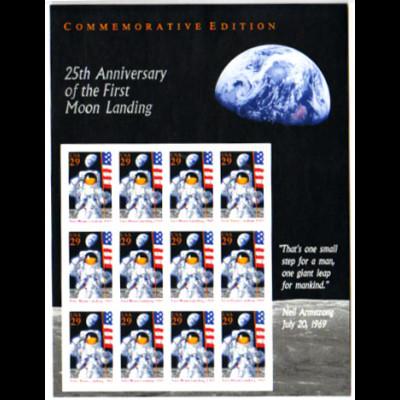 USA: 1994, Schmuckbogen Mondlandung (enthält 12 Marken)