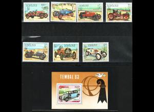 Laos: 1984, Alte Rennwagen (Satz und Blockausgabe)