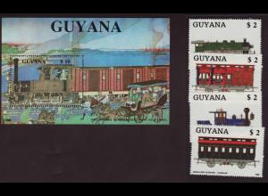 Guyana: 1989, Eisenbahn (Satz und Blockausgabe)