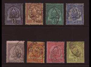 Tunesien: 1888, Protektoratswappen 1 C. - 1 Fr. (ohne Endwert, unterschiedliche bis mangelhafte Erhaltung, M€ 105,-)