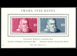 Schweiz: 1948, Blockausgabe IMABA (postfrischer Block mit minimalen Einschränkungen, M€ 90,-)