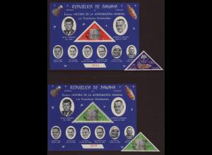 Panama: 1968, Überdruckausgabe Fernmeldesatellit (gez. Einzelwerte sowie Blockpaar ohne Goldaufdruck, Motiv Astronauten und Kennedy)