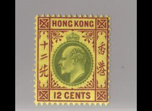 Hongkong: 1904, König Eduard 12 C. (WZ 2, postfrisch!!)