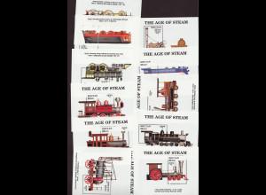 Bhutan: 1990, Blocksatz Dampflokomotiven (von den 12 Blöcken fehlt leider Bl. 236)
