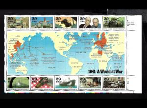 USA: 1991, Blockausgabe Geschichte des 2. Weltkrieges (Jahr 1941 als 1/2 Schalterbogen)