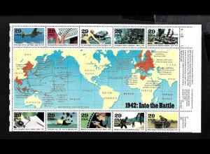 USA: 1992, Blockausgabe Geschichte des 2. Weltkrieges (Jahr 1942 als 1/2 Schalterbogen)