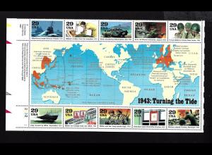 USA: 1993, Blockausgabe Geschichte des 2. Weltkrieges