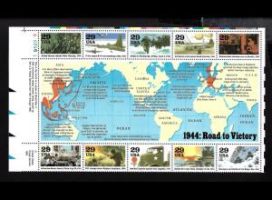 USA: 1994, Blockausgabe Geschichte des 2. Weltkrieges (Jahr 1944 als 1/2 Schalterbogen)