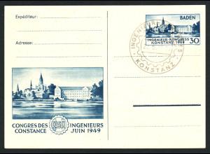 Baden: 1949, Konstanz I mit Plattenfehler, Ausstellungskarte (Fotoattest BPP)