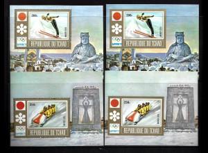 Tschad: 1972, Blockpaar Winterolympiade Sapporo (Wintersportarten, M€ 108,-)