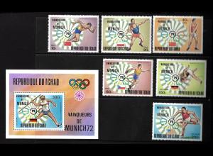 Tschad: 1972, Olympiasieger München (Leichtathletik, Satz und Blockausgabe)