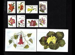 Uganda: 1988, Blüten (Satz und Blockpaar)