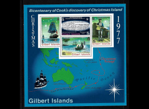 Kiribati - Gilbert-Inseln: 1977, Blockausgabe: James Cook (Segelschiffe)