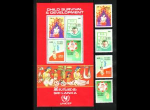Sri Lanka: 1985, Kampagne für das Überleben der Kinder (Satz und Blockausgabe)