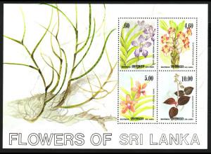 Sri Lanka: 1984, Blockausgabe Orchideen