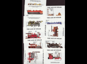 Bhutan: 1990, Blocksatz Dampflokomotiven (12 Blöcke)