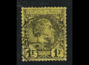 Monaco: 1885, Füst Charles III. 1 Fr. (Marke mit Zahnverkürzung, M€ 300,-)
