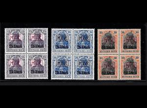 Dt. Post in Rumänien: 1917, Germania Rahmenüberdruck (postfrische Viererblöcke)