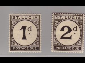 St. Lucia: 1933, Portomarken: Kolonialziffernzeichnung 1 und 2 P.