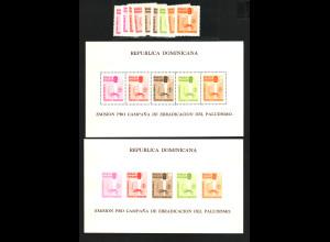 Dominikanische Republik: 1962, Malariabekämpfung (Satz und Blockpaar)