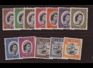 Grenada: 1953/55, Freimarken Königin Elisabeth und Wappen (Kurzsatz ohne Höchstwert)