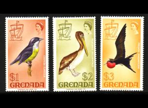 Grenada: 1968, Freimarken Vögel 1, 2 und 3 $ (drei Hauptwerte der Ausgabe 277/92)