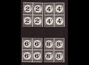 Grenada: 1952, Portomarken in Cent (Viererblöcke)