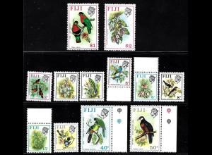 Fidschi-Inseln: 1971, Freimarken Einheimische Vögel und Blumen (bessere Ausgabe mit liegendem WZ, ohne 25 C., in dieser Variante sind nicht alle Werte des Satzes enthalten, M€ 82,-)