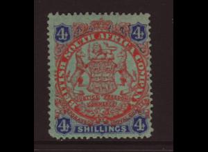 Britisch Südafrikanische-Gesellschaft: 1896, Wappen 4 Sh. (Endwert, M€ 70,-)