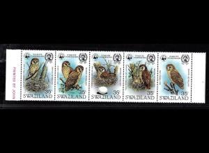 Swaziland: 1982, Fünferstreifen Afrikanische Fischeule (seltene WWF-Ausgabe, M€ 140,-)