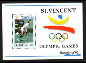 St. Vincent: 1992, Blockausgabe Sommerolympiade Barcelona (Tennis, Einzelstück)