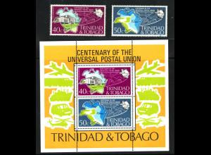 Trinidad und Tobago: 1974, Weltpostverein UPU (Satz und Blockausgabe, M€ 36,-)