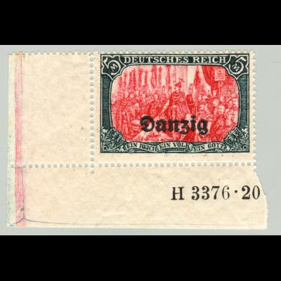 Danzig: 1920, 5 Mk., Eckrandstück mit vollständiger HAN-Nr. H 3376.20