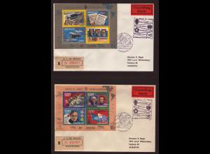 Uruguay: 1975, Blockpaar Jahresereignisse (auf 2 Erstflugbelegen als R-Eil-Briefen, dabei auch Motiv Weltraum)