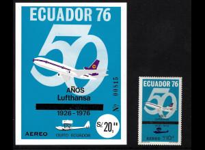 Ecuador: 1976, 50 Jahre Lufthansa (Einzelmarke und Blockausgabe)