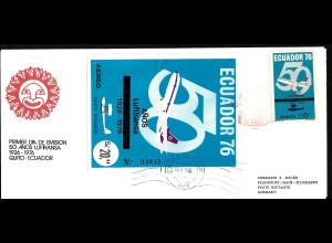 Ecuador: 1976, 50 Jahre Lufthansa (Einzelmarke und Blockausgabe auf gelaufenem Schmuckersttagsbrief)