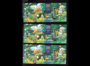 Australien: 1994, Zoologische Gärten (3 von 4 Ausstellungsblöcken mit Goldaufdruck)