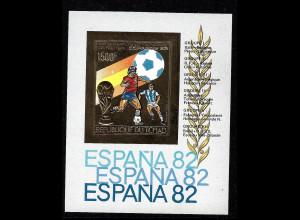 Tschad: 1982, Goldblockausgabe Fußball-WM Spanien (ungezähnt, Paolo Rossi)