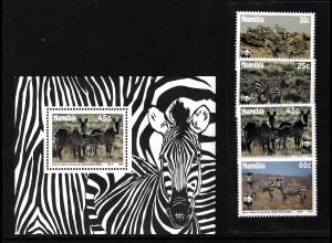 Namibia: 1990, Bergzebra (WWF-Ausgabe, Satz und Blockausgabe)