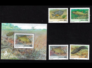 Namibia: 1992, Süßwasserfische (Satz und Blockausgabe)