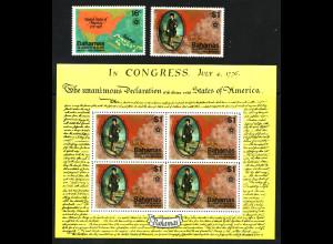 Bahamas: 1976, 200 Jahre Unabhängigkeit der USA (Satz und Blockausgabe)