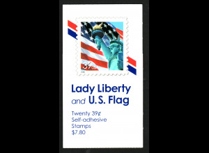 USA: 2006, Markenheftchen Freiheitsstatue vor Flagge (Kat.-Nr. 4059)