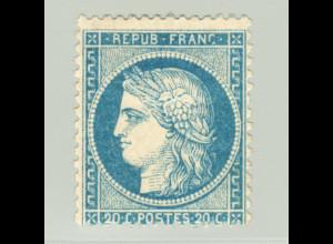 Frankreich: 1870, Ceres 20 C. (sauber gefalzt, M€ 300,-)
