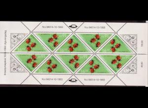 Finnland: 1994, Kleinbogen Dreiecksmarke Marienkäfer (enthält 10 Marken)