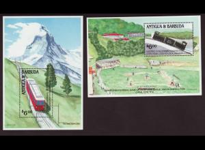 Antigua und Barbuda: 1991, Blockpaar Berg- und Zahnradbahnen