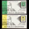 Argentinien: 1987, Freimarken Briefkasten als Markenheftchenpaar mit jeweils 10 Marken, Aussendeckel mit Motiv Dampflokomotive)