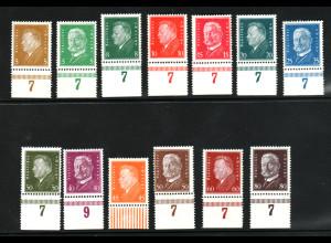 1928, Freimarken Reichspräsidenten alle Marken vom Unterrand
